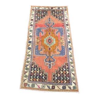 Vintage Aztec Turkish Anatolian Orange and Blue Rug For Sale