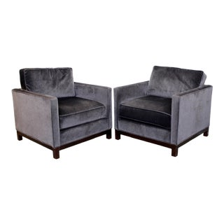 Contemporary Modern Lexington Pair of Large Faux Mohair Cube Lounge Armchairs For Sale
