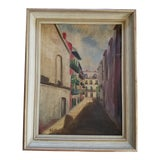 Image of French Street Scene Acrylic Painting For Sale