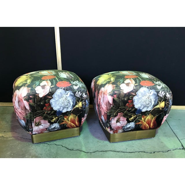 Beacon Hill 1990s Vintage Marge Carsen Brass Poufs- A Pair For Sale - Image 4 of 13