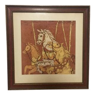Framed Running Horse Batik