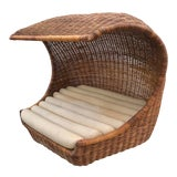 "Image of Italian Midcentury ""Wave"" Rattan Lounge For Sale"