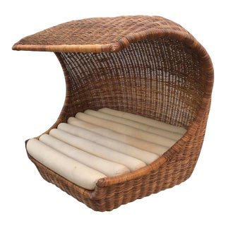 "Italian Midcentury ""Wave"" Rattan Lounge For Sale"