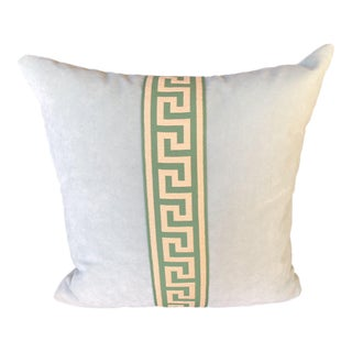 Blue Velvet With Greek Key Tape Throw Pillow W/ Feather Insert For Sale