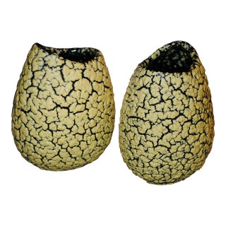Vintage Royal Haeger Popcorn Textured Lizard Skin Vases- A Pair For Sale