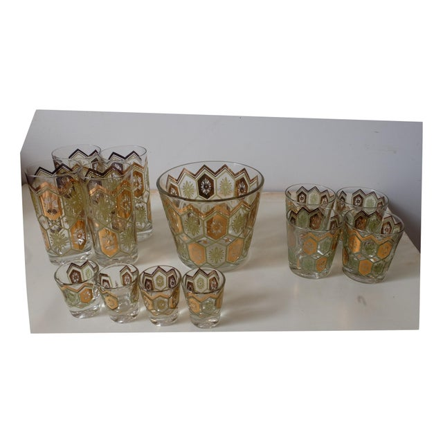 Hollywood Regency Vintage Gold Green Ice Bucket With Glasses - Set of 13 For Sale - Image 3 of 12