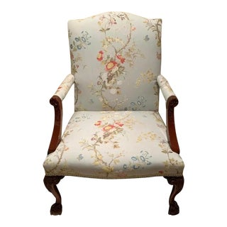 Kindel Scalamandre Meissen Fabric Library Chair For Sale