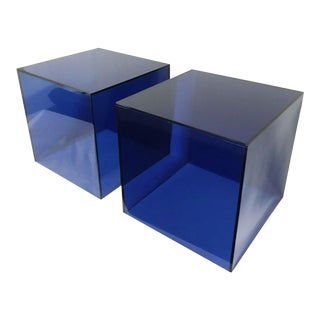 Haziza Lucite Cube End Tables in Deep Blue, a Pair For Sale