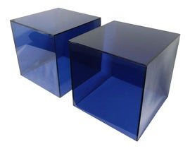 Image of Navy Blue Side Tables