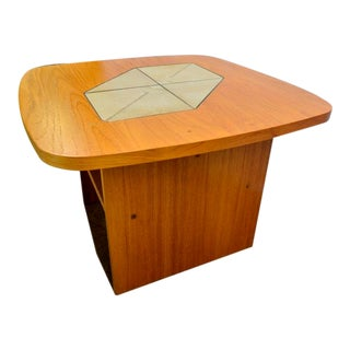 1970s Mid-Century Modern Teak Tile Side Table For Sale