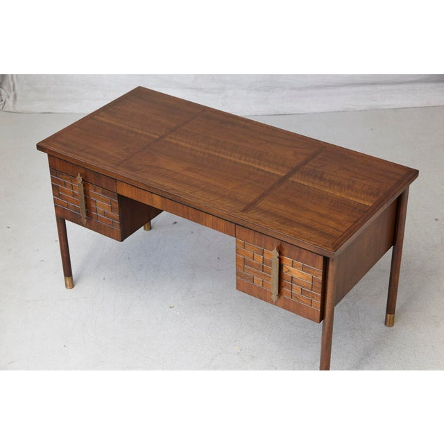 Walnut Desk With Graphic Wood Work and Brass Hardware, 1970s For Sale - Image 9 of 12