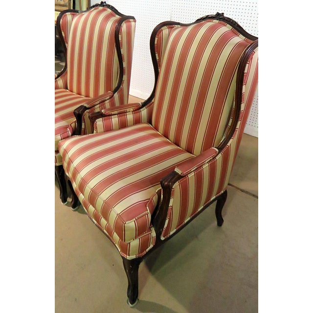 Louis XV Style Wingback Chairs - a Pair For Sale - Image 9 of 13