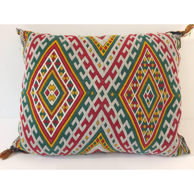 Red Moroccan Berber Pillow With Tribal African Designs For Sale - Image 8 of 8