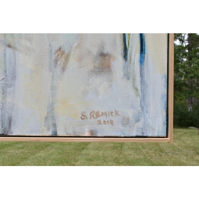 """White Abstract Painting, """"Have You Ever Seen a Sky So Blue"""", by Stephen Remick For Sale - Image 8 of 10"""