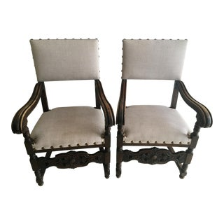 19th Century Spanish Revival Armed Dining Chairs - a Pair