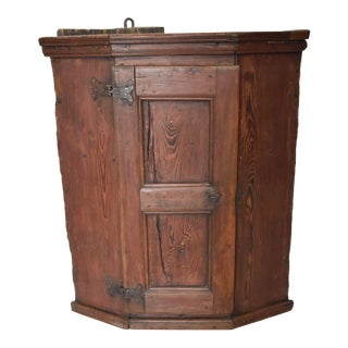 Swedish Pine Corner Cupboard For Sale
