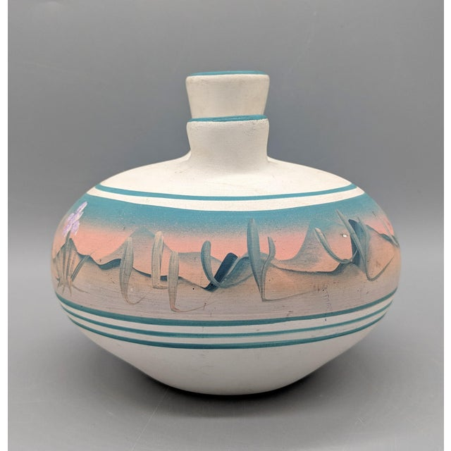 Native American 1969 Native American New West Hand Painted Pink and Blue Pottery Vase For Sale - Image 3 of 8
