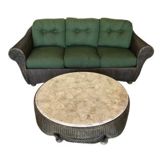 Rattan Sofa With Marble Top Center Table - 2 Pieces For Sale