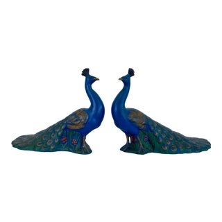 1970s Vintage Holland Mold Ceramic Peacocks - a Pair For Sale