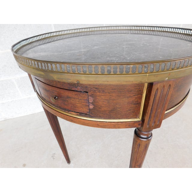 """Antique Louis XVI Style Marble Top Bouillotte Table 24.5""""w For Sale In Philadelphia - Image 6 of 12"""