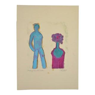 "Arthur Krakower ""Standing Nude With Flowers"" Original Monotype C.2005 For Sale"