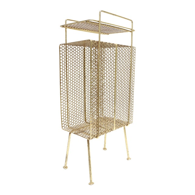 Mid Century Modern Gold Brass Magazine Stand Telephone Side Table For Sale