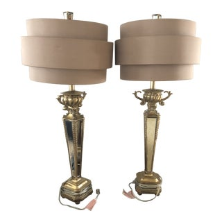 Hollywood Regency Rose Hued Shades/ Mirrored Lamps - a Pair For Sale
