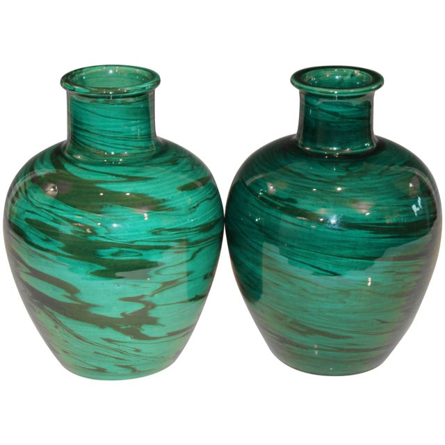 Bitossi Mid-Century Modern Raymor Vintage Italian Pottery Marbled Green Marbleized Vases, Pair For Sale - Image 9 of 9