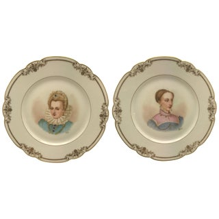 Pair of Antique Sevres France Portrait Plates, Hand-Painted Artist Signed For Sale