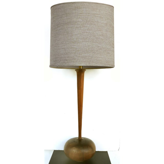 Studio Mid-Century Modern Turned Wood Lamp For Sale - Image 9 of 9