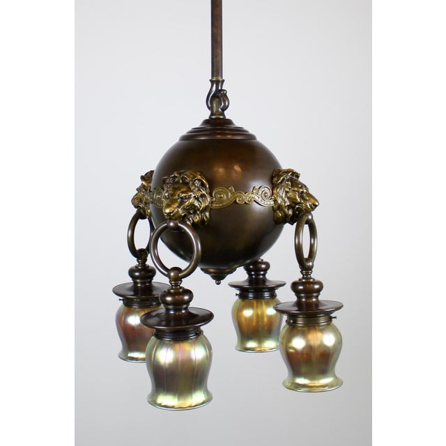 Classic Revival Lion Light Fixture For Sale - Image 5 of 10