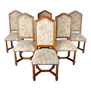Vintage Set of 6 French Oak Dining Chairs W/ Floral Upholstery For Sale