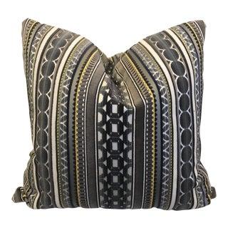 "Gray & Taupe Cut Velvet Stripe 22"" Pillows-A Pair For Sale"