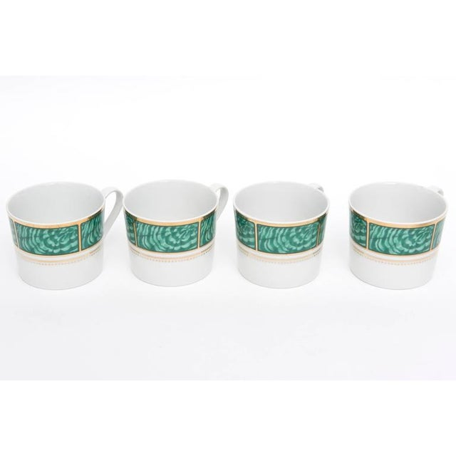 Georges Briard Set of Four Settings of Georges Briard Imperial Malachite China Service For Sale - Image 4 of 9