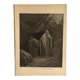 """Antique Paradise Lost Print """"This Said - They Both Betook Them Several Ways"""" For Sale"""