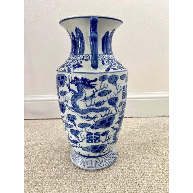 Ceramic Chinoiserie Blue & White Porcelain Vase For Sale - Image 7 of 10