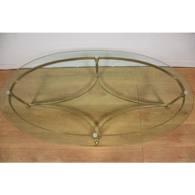 Hollywood Regency Brass & Glass Coffee Table - Image 4 of 8