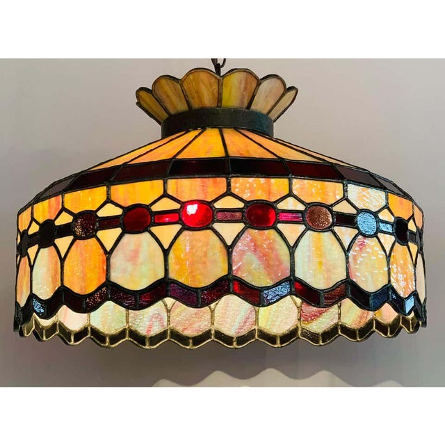 Bronze Mid 20th Century Tiffany Style Leaded Glass & Patinated Bronze Pendant or Chandelier For Sale - Image 8 of 12