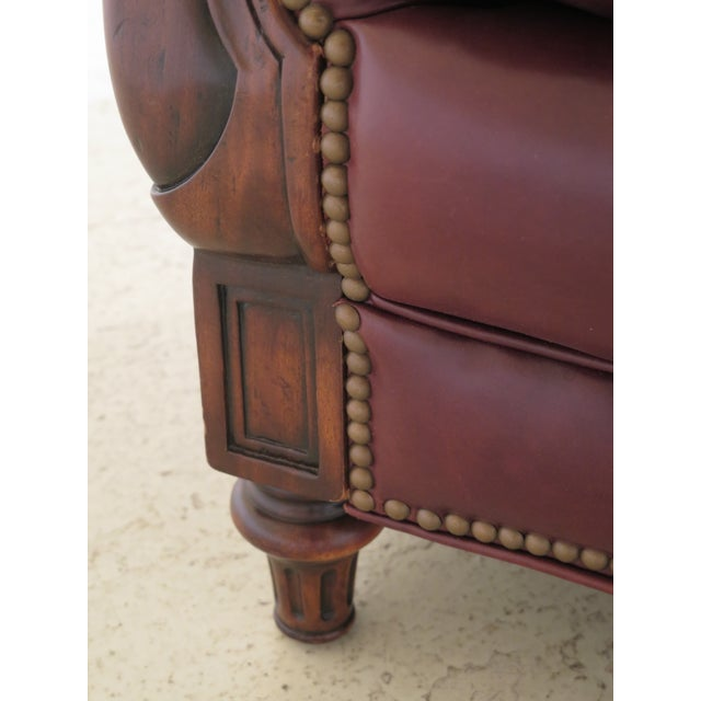 2000 - 2009 Alexander Taylor Leather & Mahogany Club Chairs- A Pair For Sale - Image 5 of 13