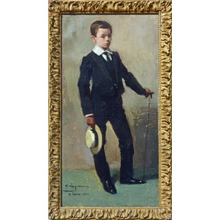 'To the Manor Born' Full Length Portrait by Maurice Wagemans, Belgian 1877-1927 For Sale