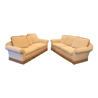 1980s Vintage White Brocade Traditional Sofas - a Pair For Sale
