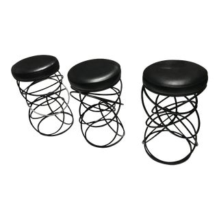 1970s Mid-Century Modern Iron & Vinyl Bar Stools - Set of 3