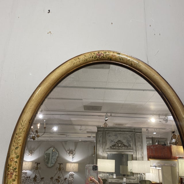 1940s Vintage Yellow Hand-Painted Mirror For Sale - Image 5 of 7