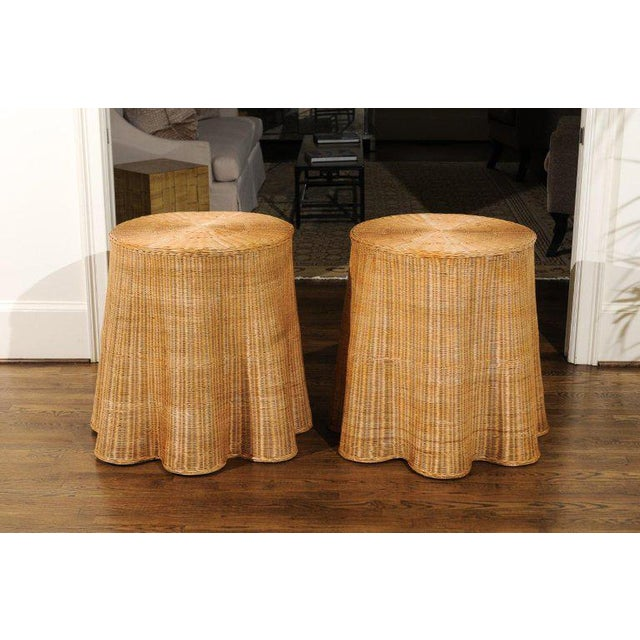 Tan Stellar Pair of Vintage Trompe l'Oiel Drape Wicker Tables For Sale - Image 8 of 12