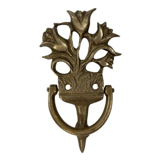 Cast Brass Tulip Door Knocker For Sale