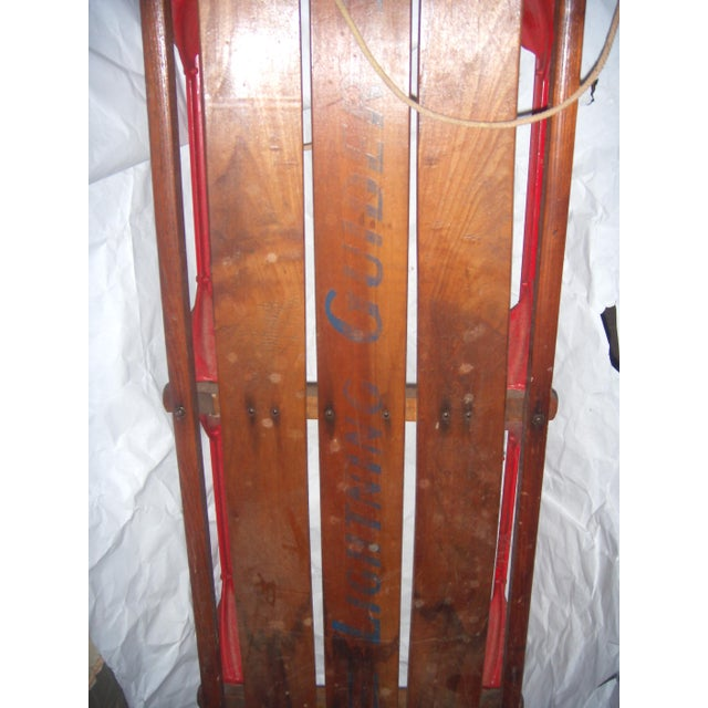 Antique Lightning Glider Wood & Iron Sled For Sale - Image 5 of 6
