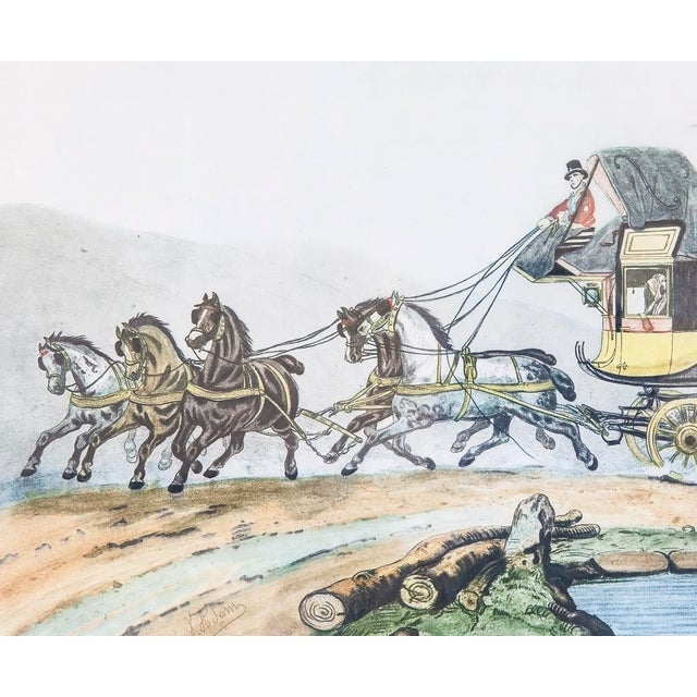 Vintage French Horse and Carriage Etching - Image 5 of 8