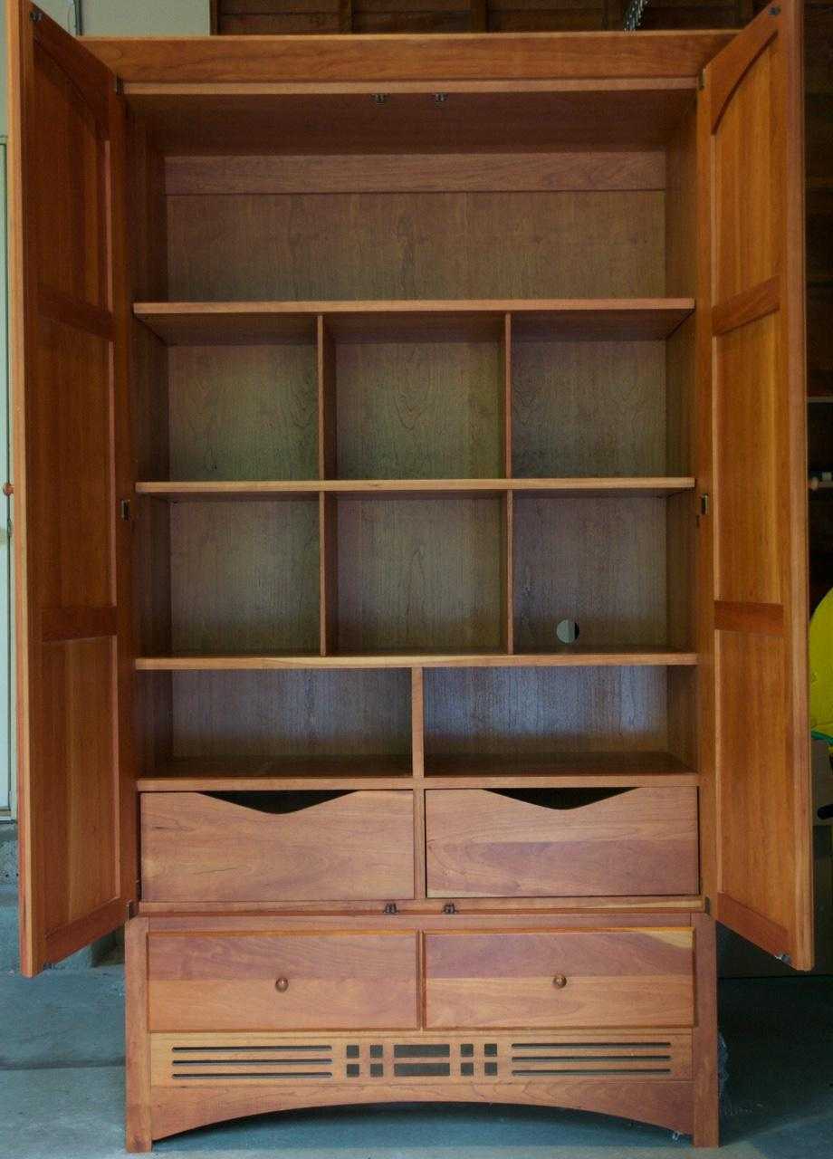 Vintage Harden Mission Style Solid Cherry Armoire   Image 3 Of 5