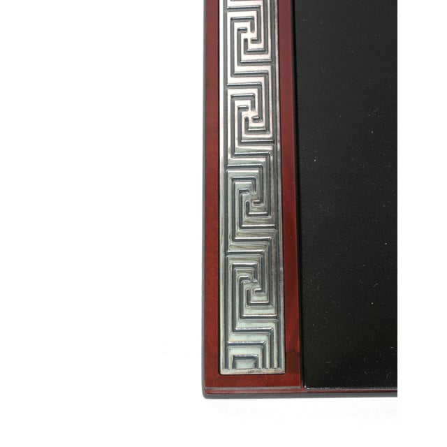 Brown Mahogany Wood Base / Sterling Silver Details Desk Accessory For Sale - Image 8 of 13