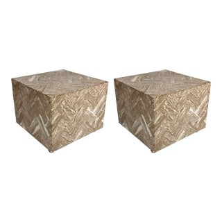 Pair of Italian Herringbone Marble Cube Side Tables For Sale